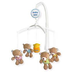 Детский музыкальный мобиль с плюшевыми игрушками механический Baby mix 788M, Мишки с медом (6813)