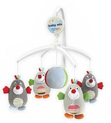 Детская музыкальная игрушка карусель механическая для кроватки, Пингвины Baby mix TK/350М