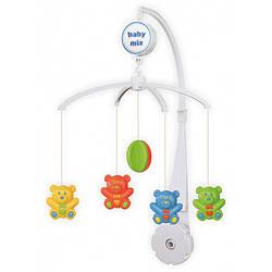 Детская музыкальная карусель механическая пластиковыми игрушками, Мишки Baby Mix, Подарок грудничку(SK/20038А)
