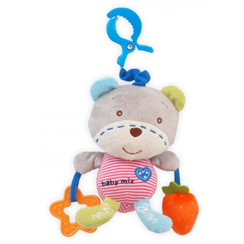 Музыкальная детская игрушка с клипсой для коляски Baby Mix P/1129-DA00 Мишка (7338)