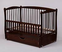Кроватка для новорожденныхTwins Элит шарнир/ящик подшипник откидной бортик 120х60 см., венге (6473)