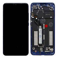 Дисплей для Xiaomi Mi 8 Lite Оригинал Черный с сенсором и синей рамкой