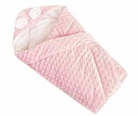 Конверт-плед детский прогулочный с ушками в коляску Twins Minky шерстепон 80х80 см., розовый