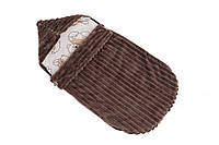 Детский теплый демисезонный конверт в коляску Twins Trip 80х35 см коричневый