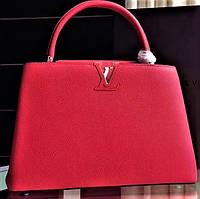 Женская кожаная сумка Louis Vuitton Capucines Original quality  красная шикарная