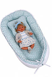 Кокон позиционер для сна для новорожденных  Twins Маршмэллоу 82х44 см., мятный