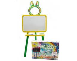 Магнитный мольберт для рисования 130 см Doloni Toys, желто-зелёная