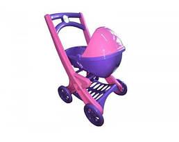 Игрушечная детская коляска для кукол Active Baby с люлькой, фиолетовая. Подарок для девочки от 3 лет