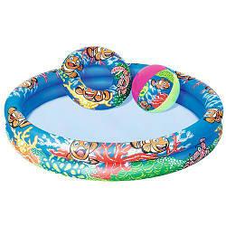 Надувной детский бассейн круглый с мячом Bestway на 137 литров, подводный мир