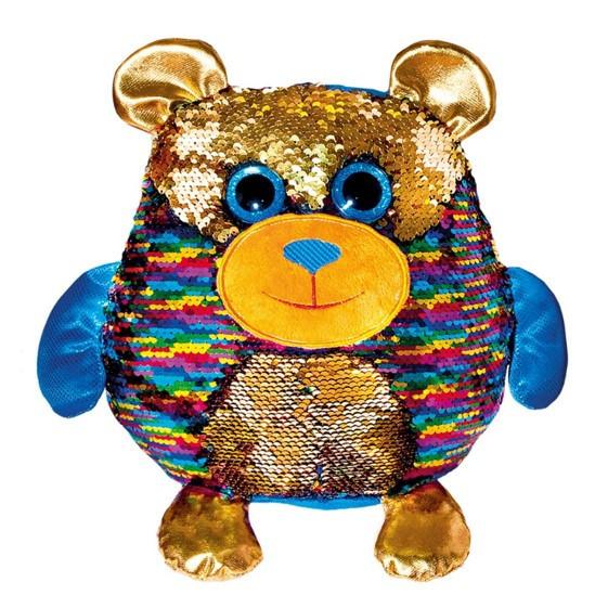Детская мягкая игрушка Fancy антистресс с пайетками Мишка Джорджио, 28 см.