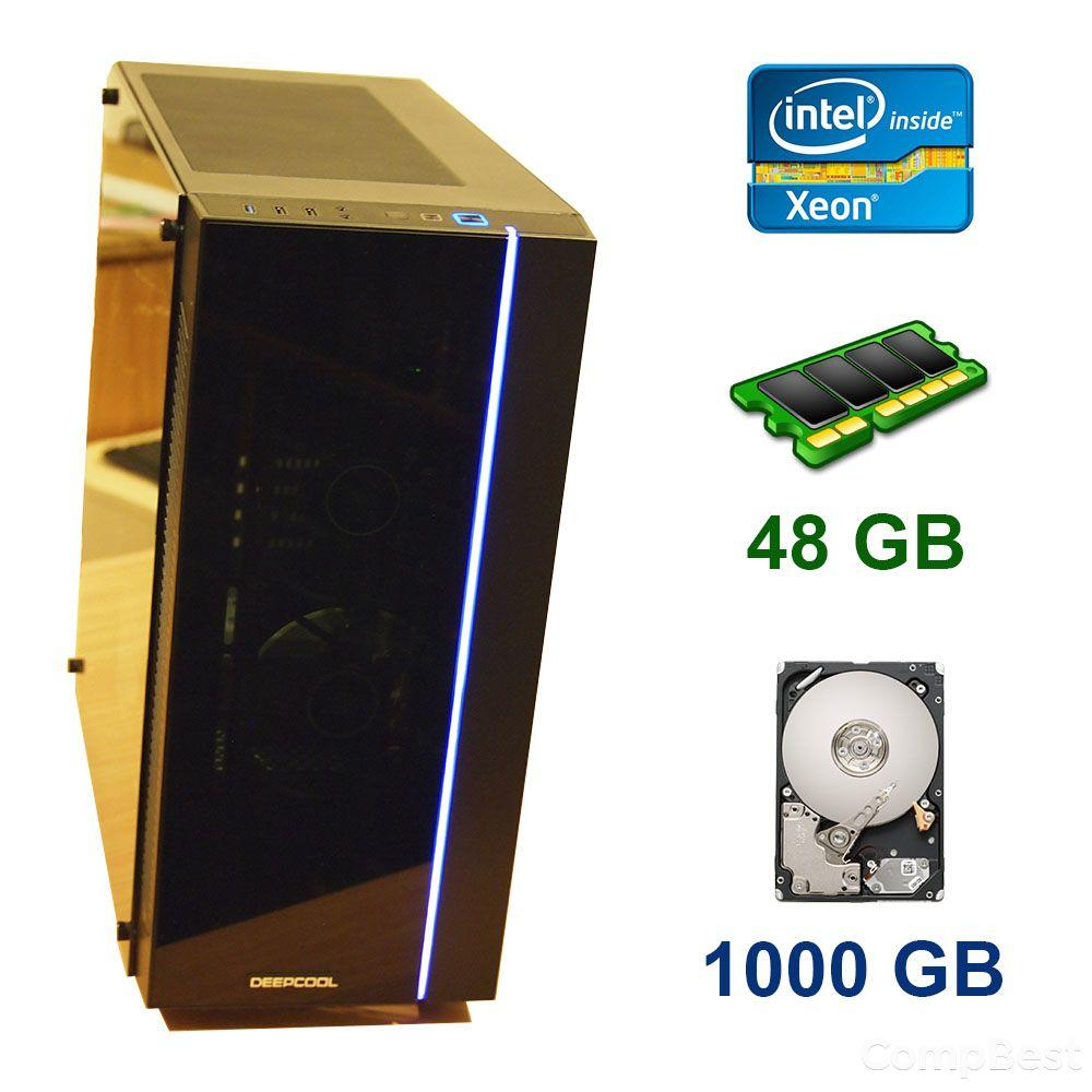 Midi-Tower / 2x Intel Xeon X5675 (6 (12) ядер по 3.06 - 3.46 GHz) / 48 GB DDR3 / 1000 GB HDD / Блок питания 550 WT