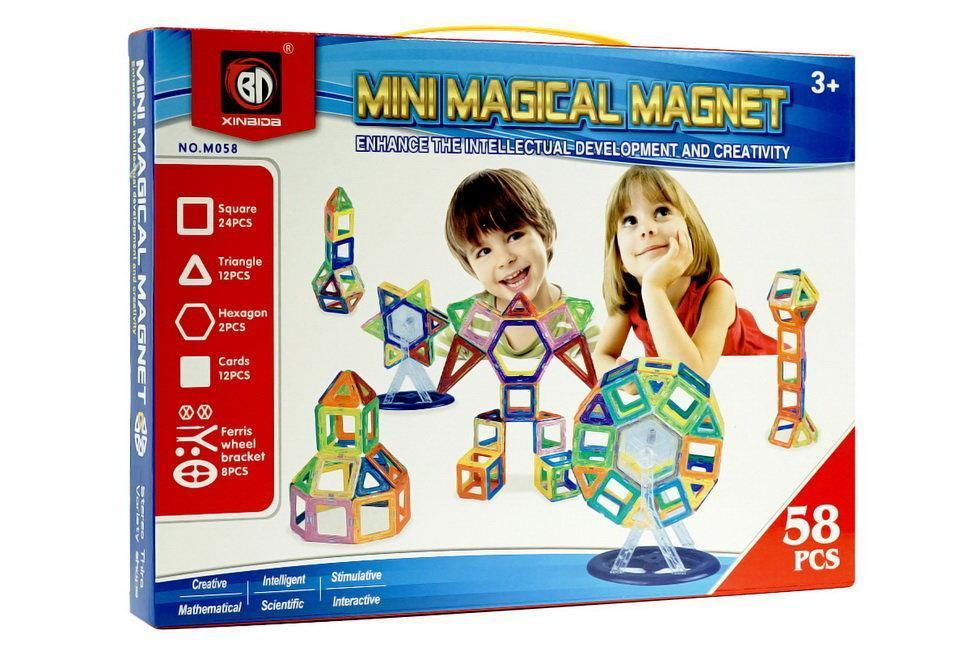 Игровой набор для ребенка конструктор на магнитах Qunxing Toys, 58 деталей