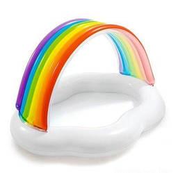Овальный надувной детский бассейн с навесом Облако с радугой на 82 литра, белый