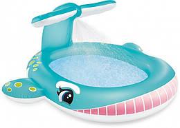 Бассейн детский надувной игровой с фонтаном Голубой Кит Intex на 200 литров, голубой