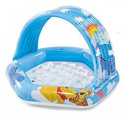 Надувной бассейн детский круглый с навесом Винни Пух Intex на 41 литр, голубой