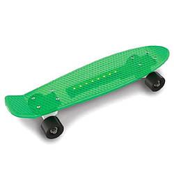 Пластиковый скейтборд Penny Board светящийся, салатовый (0151/5)