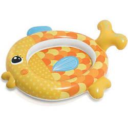 Надувной детский бассейн круглый с ненадувным дном Золотая рыбка Intex на 34 литра, оранжевый