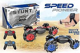 Машинка-багги перевертыш Stunt с роликовими колесами. пульт + пульт на палец. Ездит в 4 стороны!