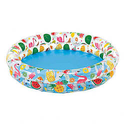 Игровой детский надувной бассейн 2 кольца Intex на 150 литров, разноцветный