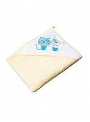 Махровое детское полотенце-уголок для купания с капюшоном Tega Кот и Пес PK-008 100х100 см., желтое