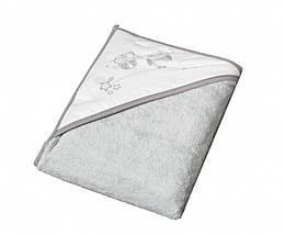 Детское махровое полотенце с капюшоном Tega Sowa SO-007 100х100 см., серое