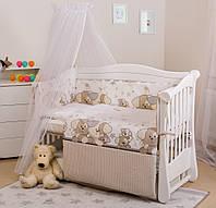 Детский постельный комплект без балдахина в кроватку с бампером Twins Eco Line E-014 Щенок 6 предметов бежевый