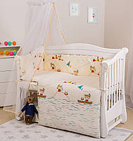 Постельный комплект для детской кроватки с бортиками 6 предметов без балдахина Twins Eco Line E-012 голубой