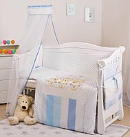 Постельный комплект для новорожденных на кроватку Twins Dolce D-003 Друзья Зайчики 8 предметов, голубой