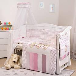 Детский постельный комплект на кроватку для девочки с балдахином Twins Dolce D-002 Зайчики 8 предметов розовый