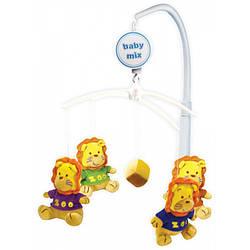 Детская музыкальная игрушка карусель механическая для кроватки Baby Mix 710M, Львята (3825)