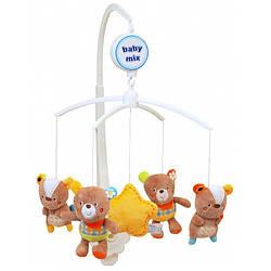 Детский мобиль с плюшевыми игрушками и музыкой механический Baby Mix 424M, Лесные зверята (8039)