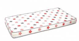 Детский матрас беспружинный в кроватку Twins 3D Stars coral, 120х60 см., белый