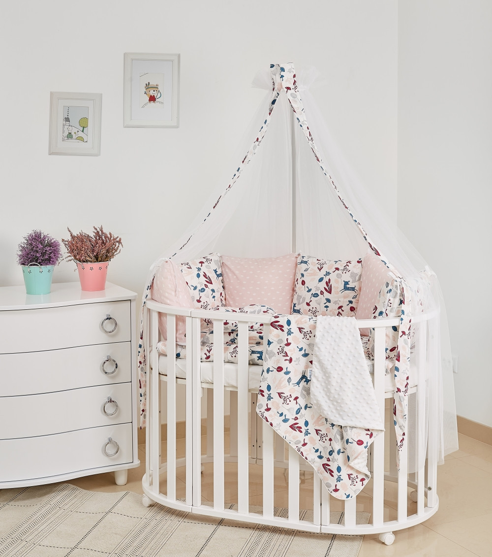 Постель для ребенка в кроватку Twins Dolce Лесные жители 8 элементов D-015, белая
