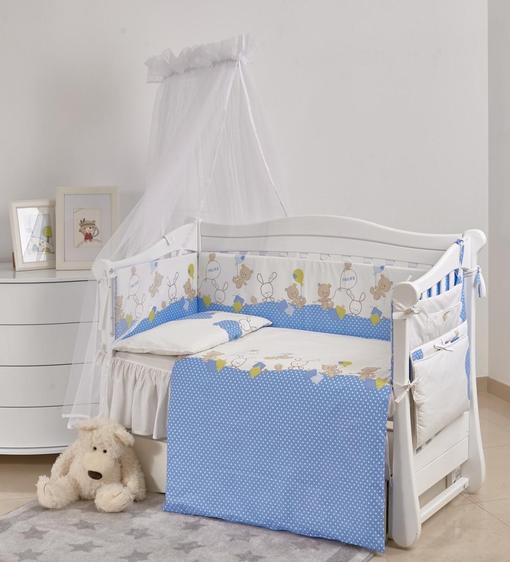 Детская постель Twins Comfort New Горошки 7 эл С-120, голубой (8526)