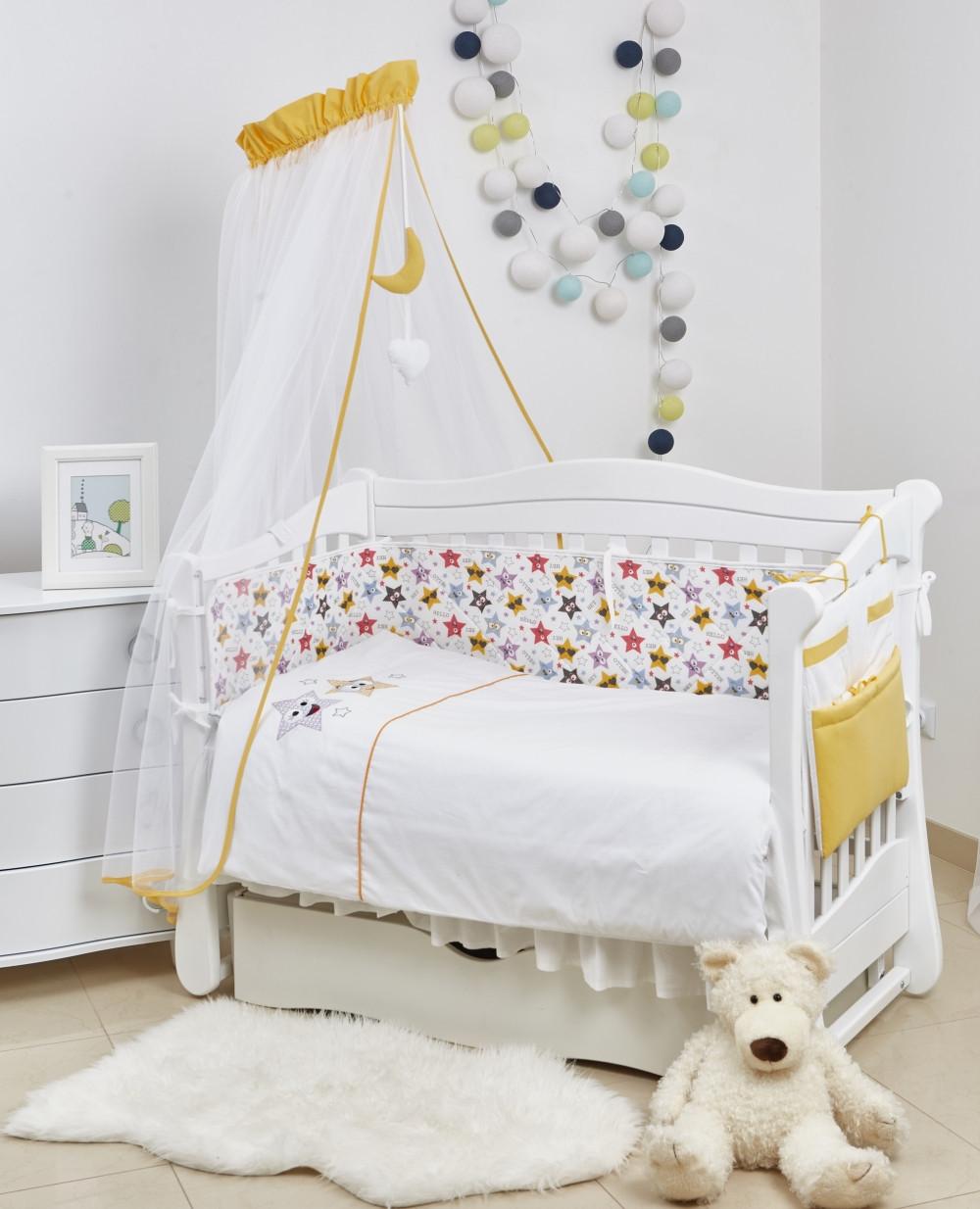 Постель для детской кроватки Twins 3D Funny Stars 8 элементов, желтая
