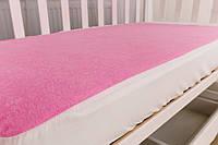 Наматрасник махровый непромокаемый на резинке в детскую кроватку Twins 120×60 см, розовый