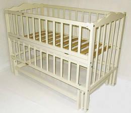 Кроватка для новорожденных Twinsбез ящика с откидным бортиком 120х60 см., слоновая кость (5997)