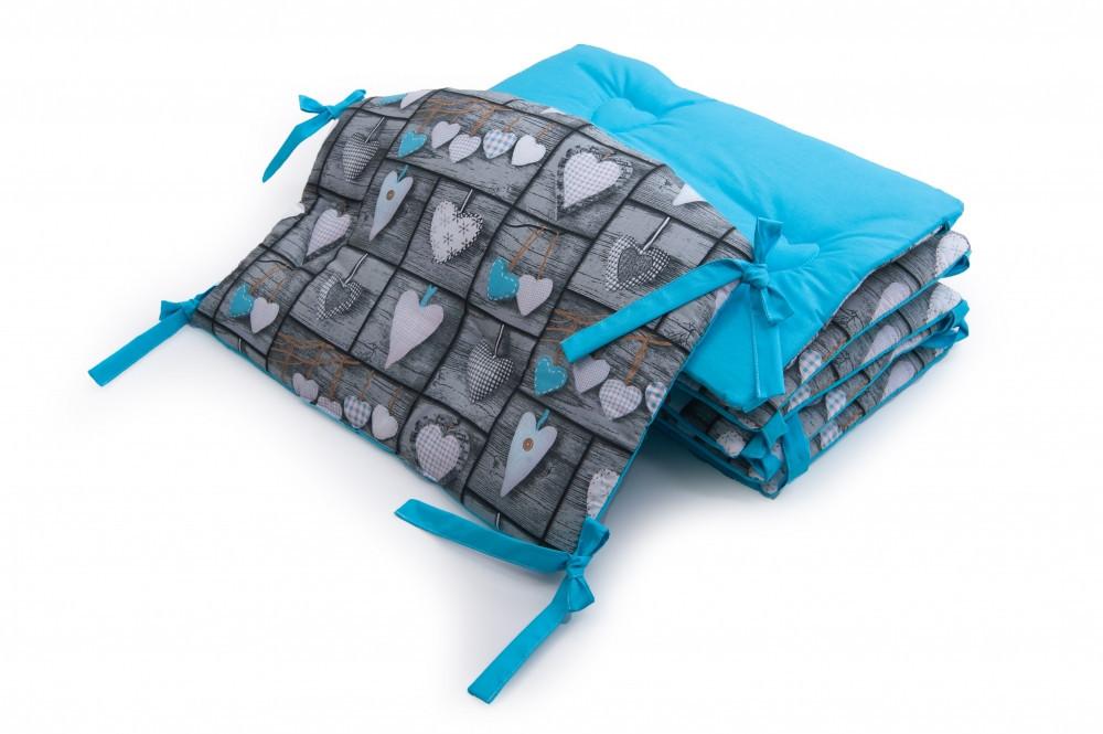 Защитные бортики в детскую кроватку Twins Premium Сердечка 60х40 см., голубые