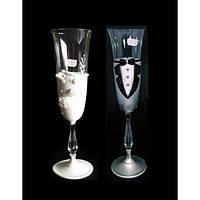 Cвадебные бокалы для шампанского Mr & Mrs 2 пр 3 вида в ассортименте 190 мл  Bohemia Antik, фото 1