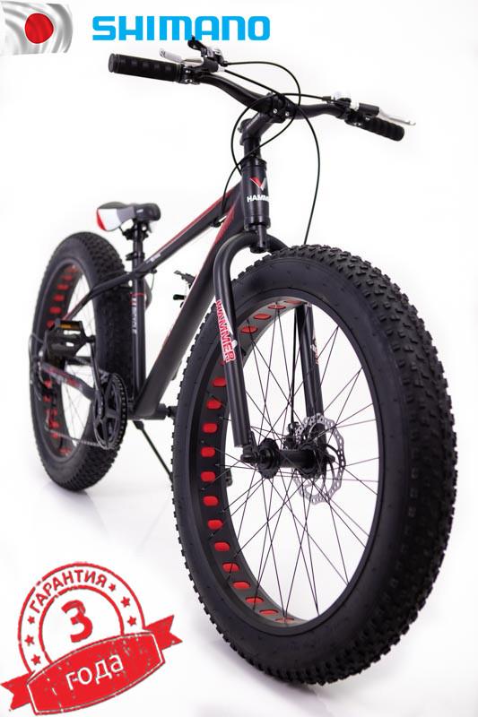 """Fat Bike Горный Велосипеды  S800 HAMMER EXTRIME"""" Колёса 24''х4,0. Алюминиевая рама 14'' Япония Shimano. Черно-Красный"""