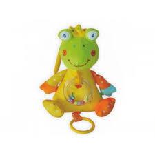 Детская плюшевая музыкальная игрушка-погремушка Baby Mix STK-13171F Лягушка (3665)