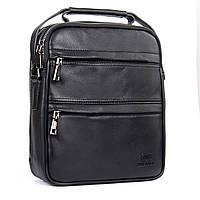 Удобная кожанная мужская сумка черного цвета BRETTON (26*22*9 см), BE 2016-4 black