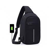 Городской рюкзак антивор Bobby Mini с защитой от карманников и USB-портом для зарядки Черный