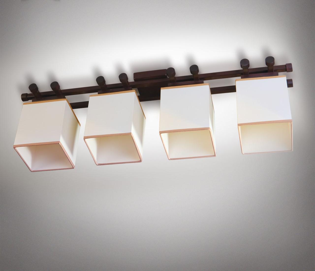 Люстра 4-х ламповая, металлическая, с деревом, спальня, зал, гостиная 14904-1