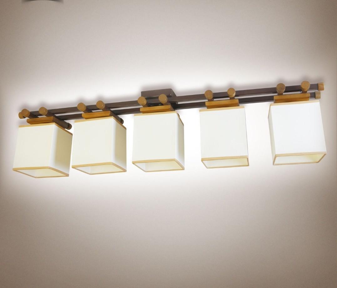Люстра 5-ти лампова, металева, з деревом, спальня, зал, вітальня 14905-1