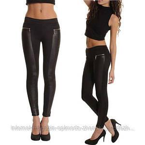 Модные женские черные леггинсы с кожаными вставками, размеры: 42, 44, 46, 48, 50