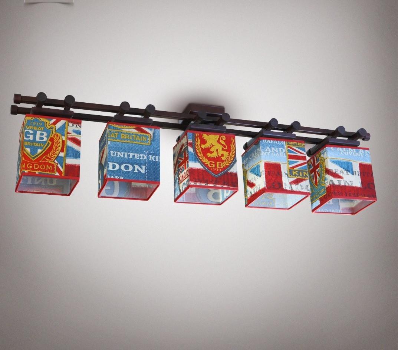 Люстра 5-ти лампова, металева, з деревом, спальня, зал, вітальня 14905-2