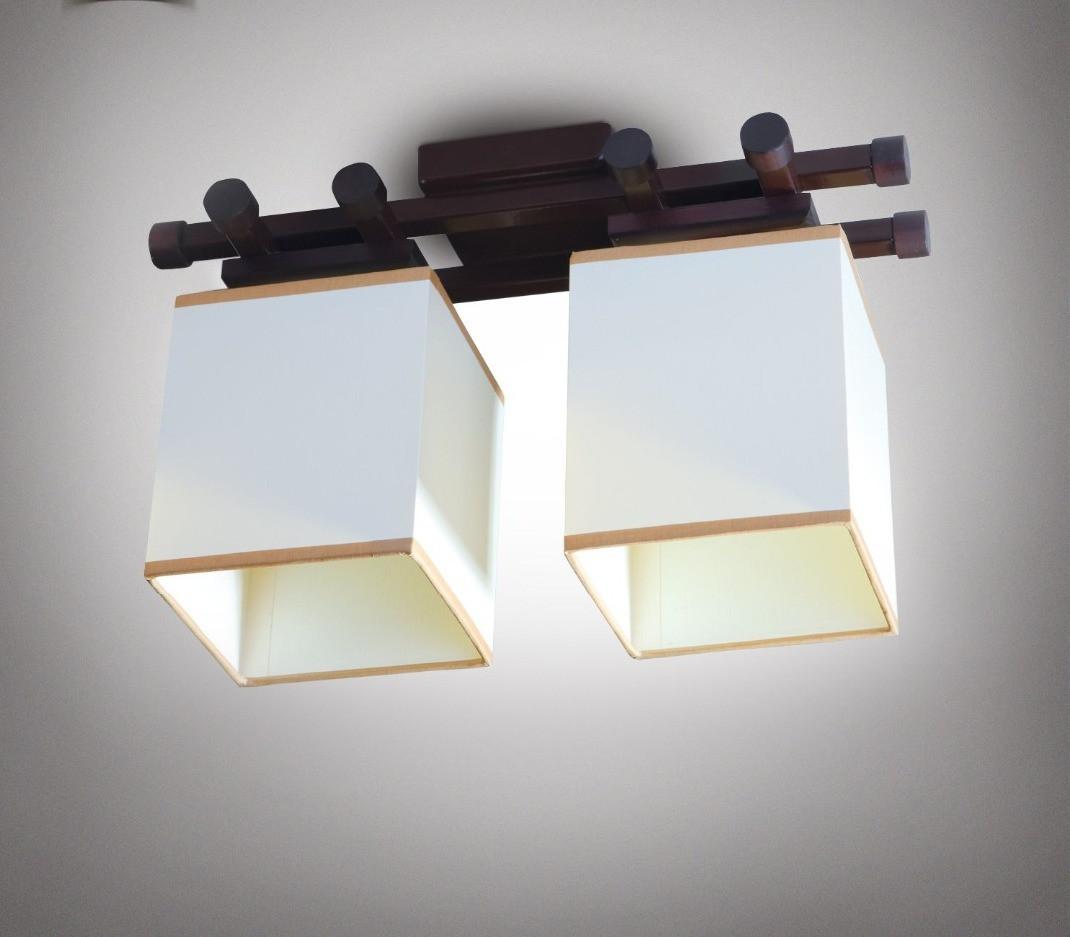 Люстра 2-х ламповая, металлическая, с деревом и кубами для небольшой комнаты 14906-2