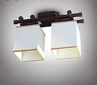 Люстра 2-х ламповая, металлическая, с деревом для небольшой комнаты