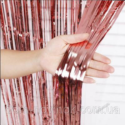 Шторка из фольги для фото зоны 1×2метра (розовое золото)